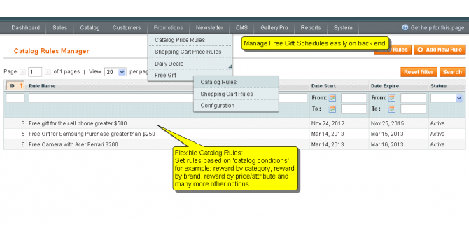 Catalog Rules Manages