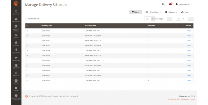 Manage Delivery Schedule