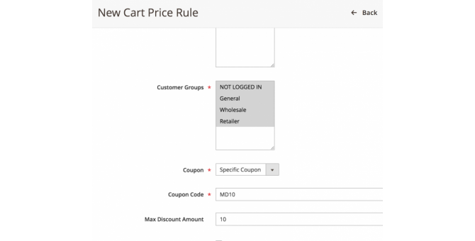 New Cart Price Rule