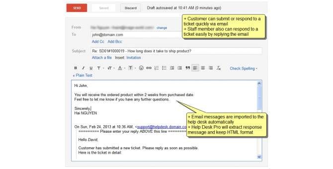 Respone Via Mail
