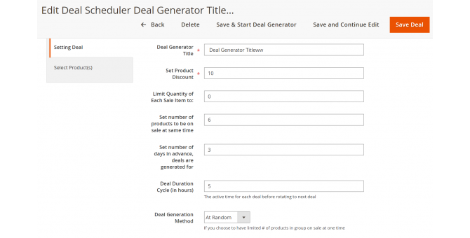 Setting Deal