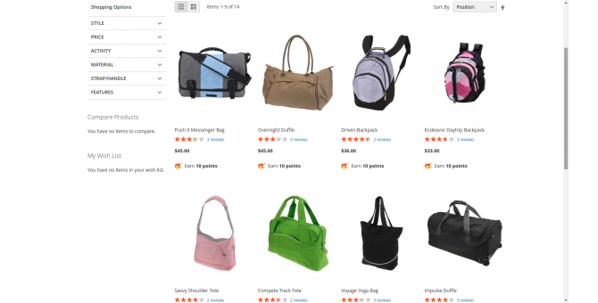 Shopping Option On Frontend