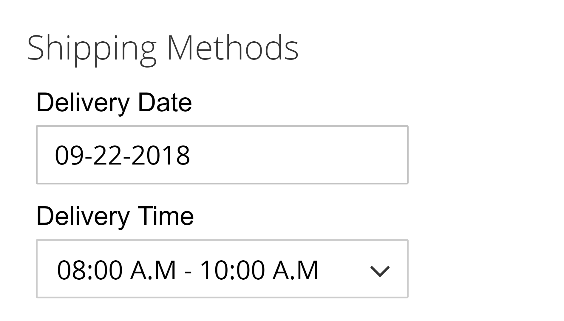 select delivery date and time