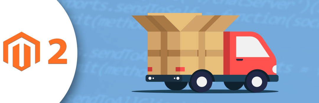 a red truck driving in a blue background and number 2 on the left of the images symbolizes shipment in magento 2.x.x