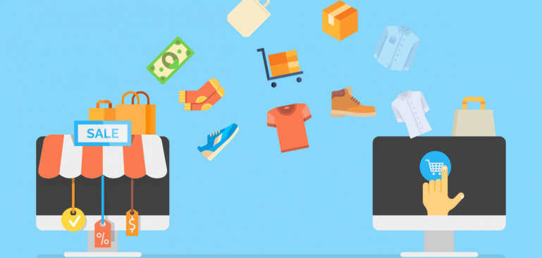 an animated picture about merchant which includes a computer receiving products from the store in a circular formation.
