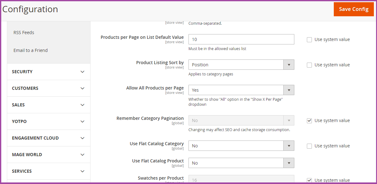 Enable Flat Categories And Product