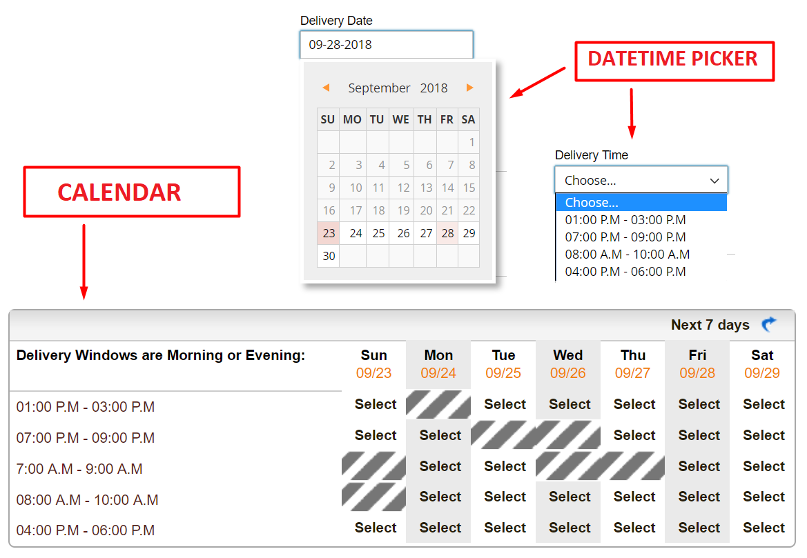 Adjustable time-picking board for Magento 2 Advanced Delivery Schedule