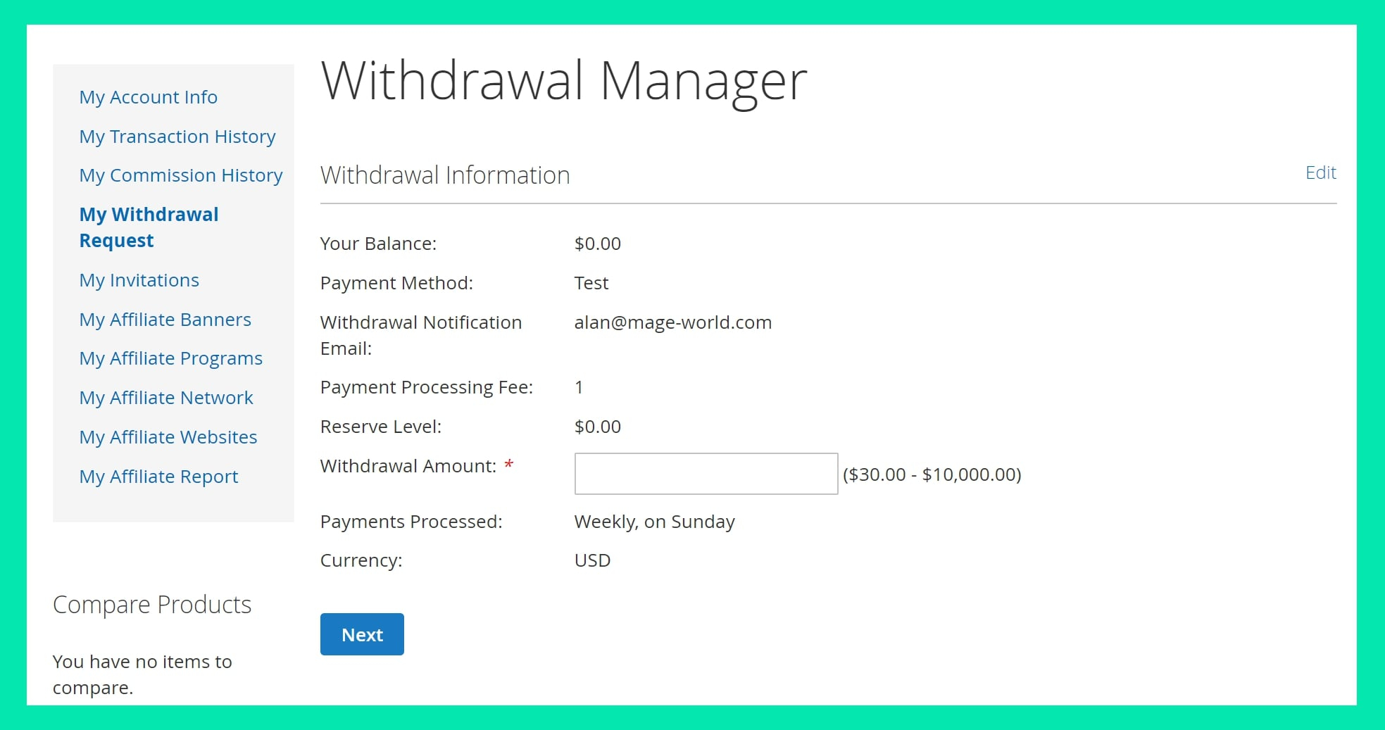 Commissions withdrawal for Magento 2 affiliate