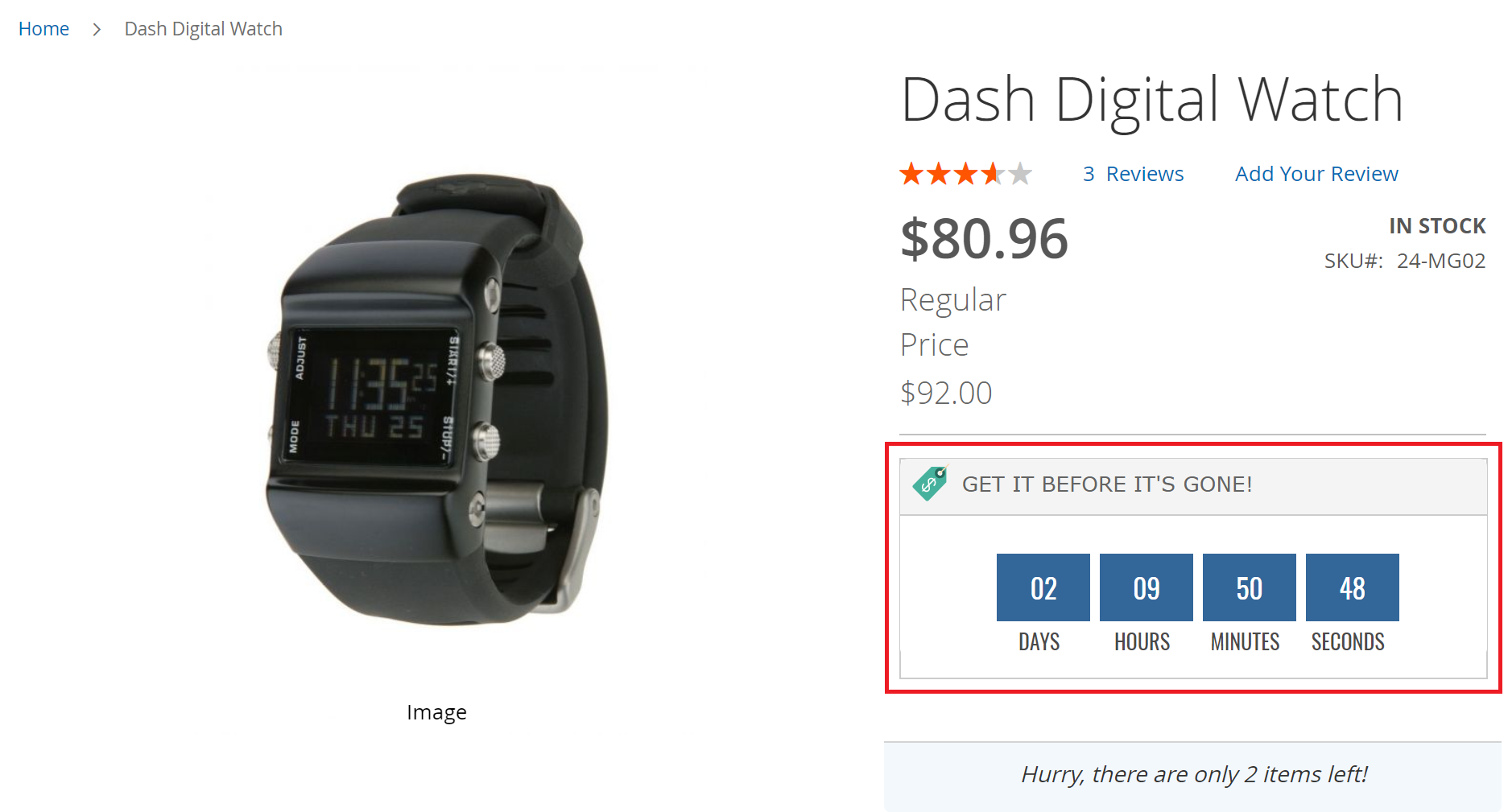 Countdown timer for Magento 2 Daily Deal