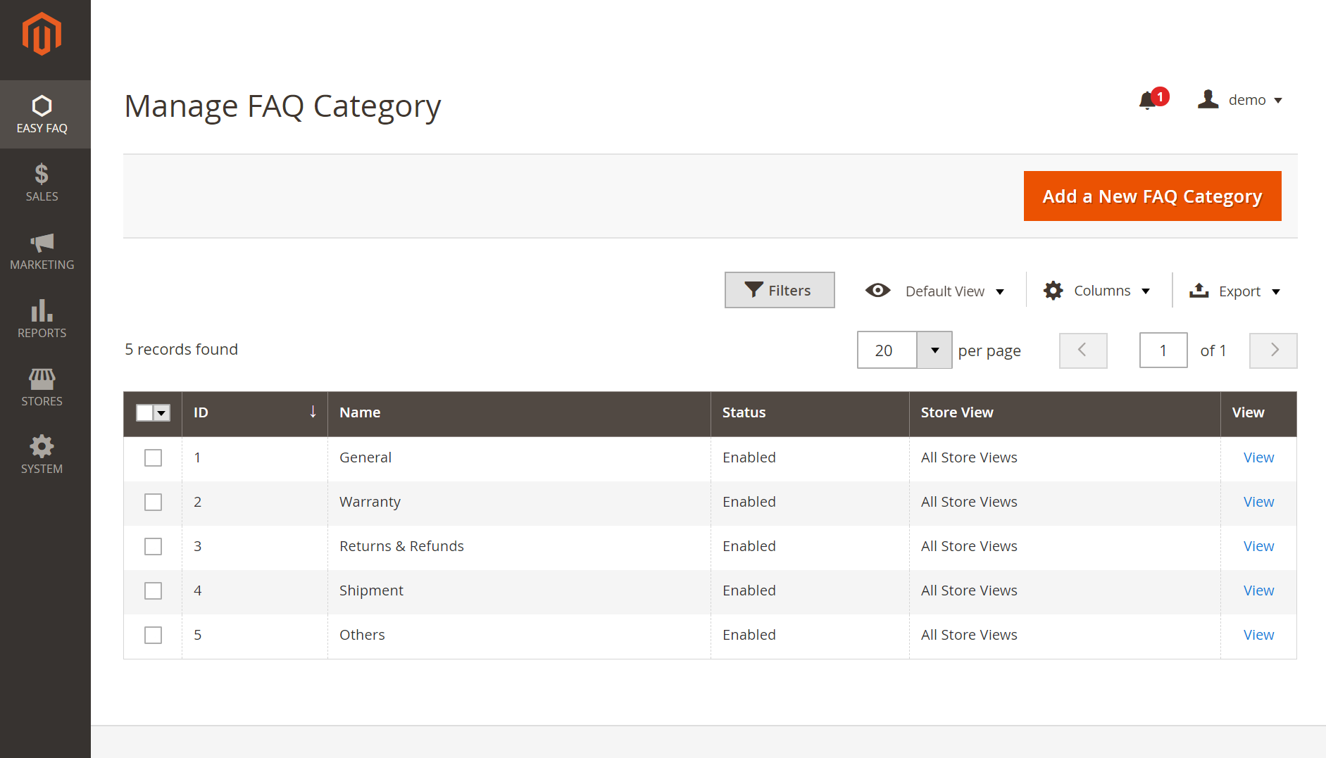 Create and manage FAQ categories for Magento 2 FAQ