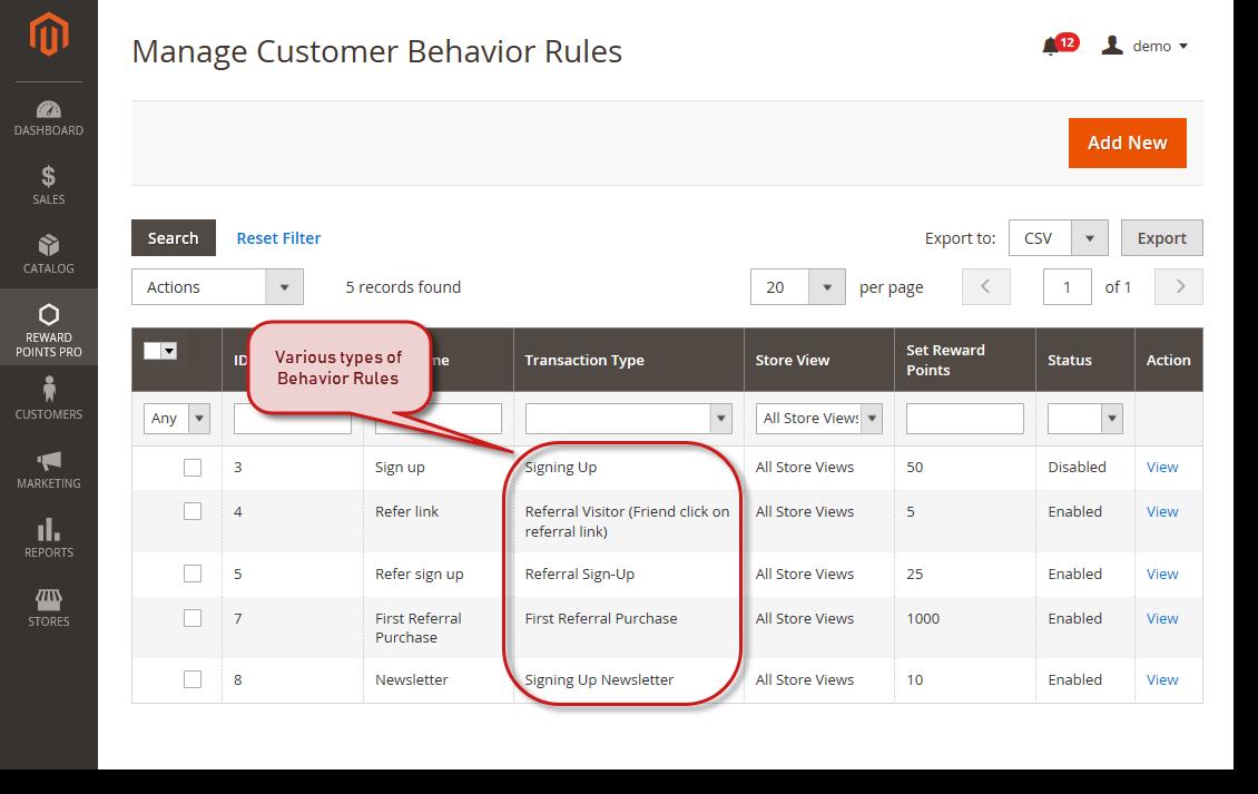 Customer Behaviors for Magento 2 Reward Points