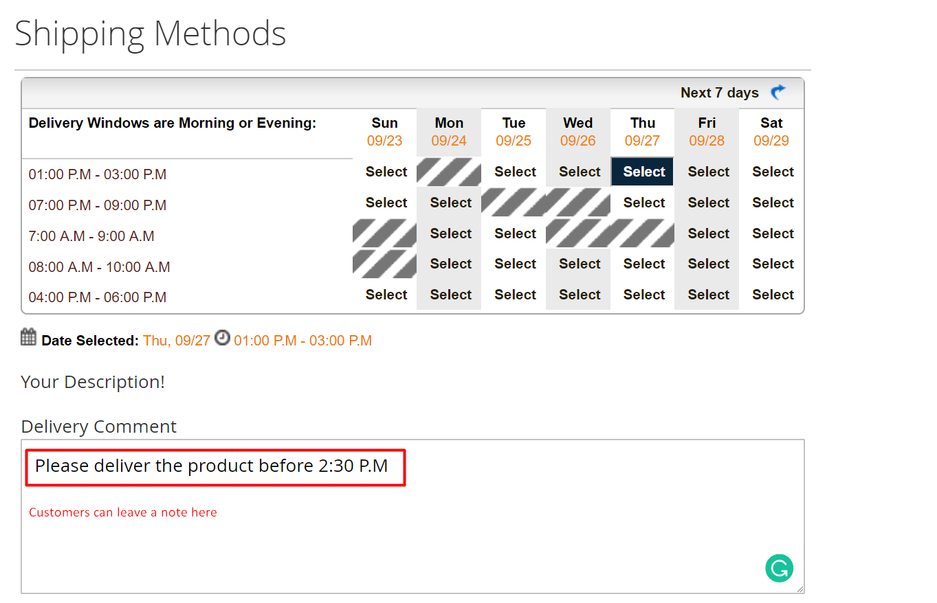 Delivery note for Magento 2 Advanced Delivery Schedule