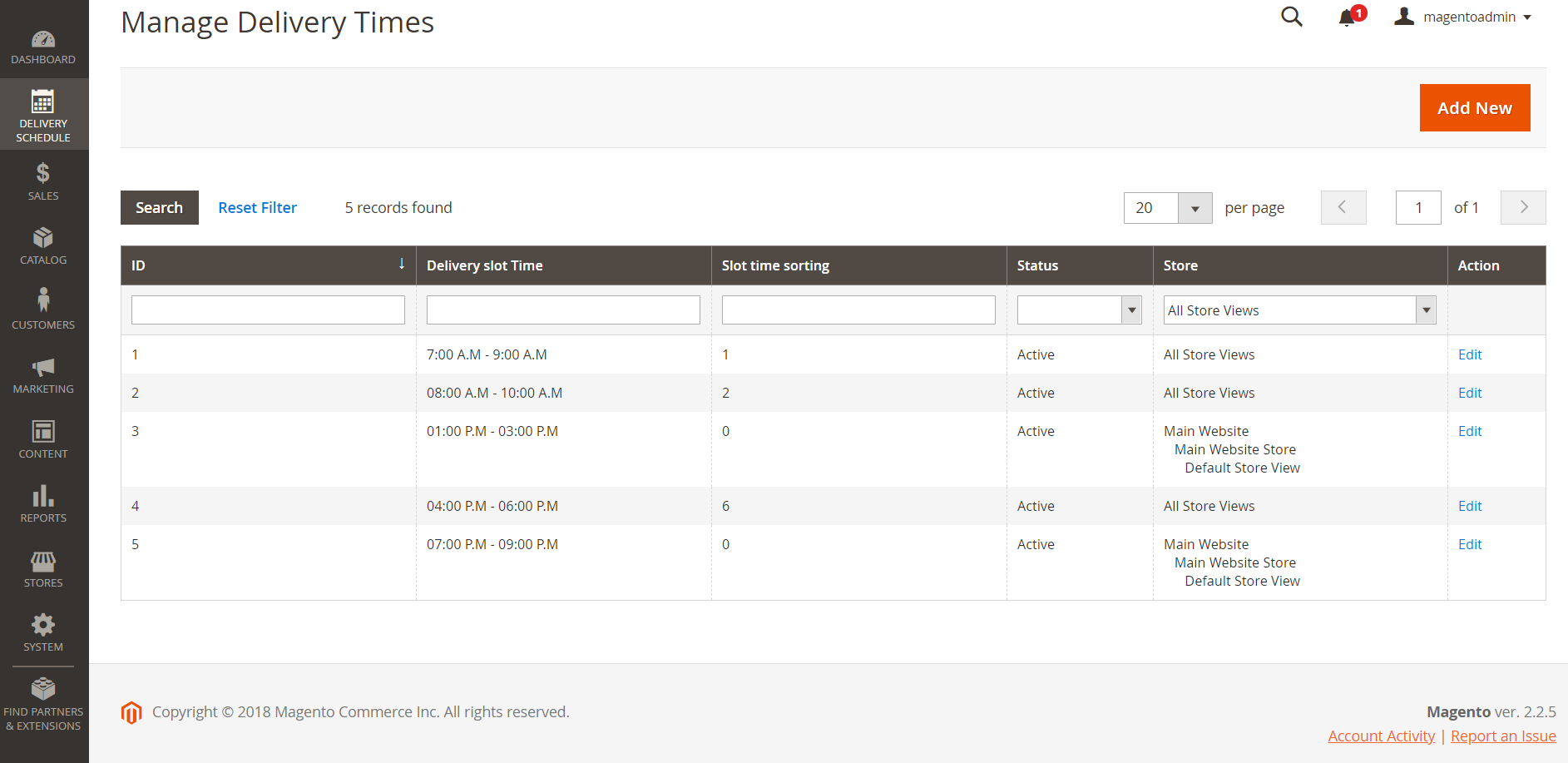 Different time ranges to delivery for Magento 2 Advanced Delivery Schedule