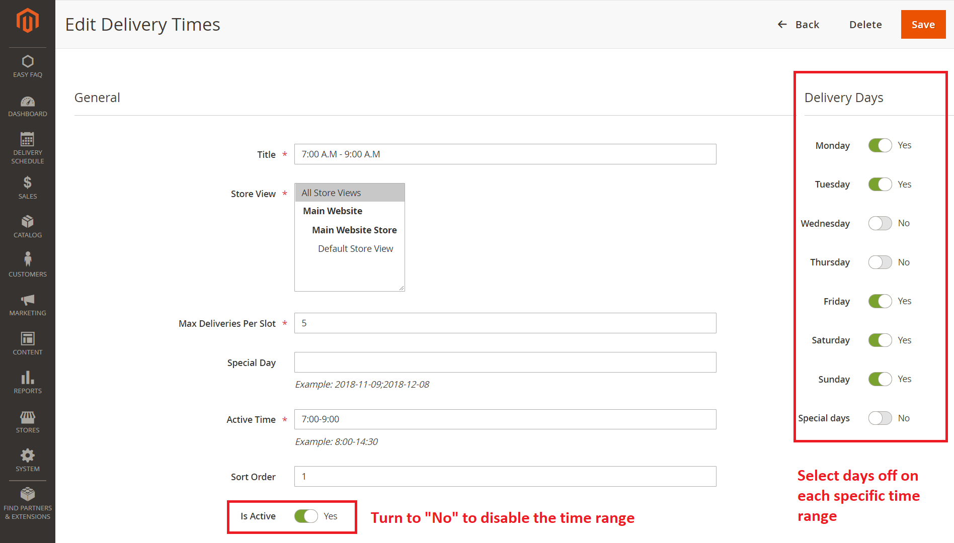 Disable specific time ranges for Magento 2 Advanced Delivery Schedule
