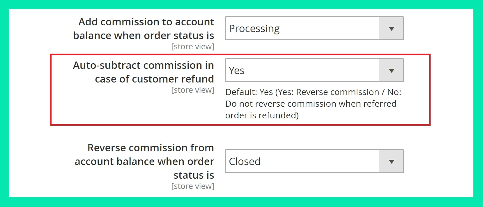 Subtract commission of affiliate automatically for Magento 2 affiliate