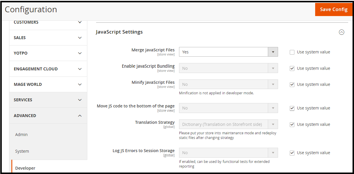 Enable JS and CSS optimization